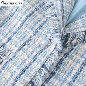 Image 5 - Ekose 2 parça Set kadın sonbahar mavi artı boyutu 5xl 4xl 3xl tam kollu cep püskül üstleri Mini etek iki parça kıyafetler eşofman