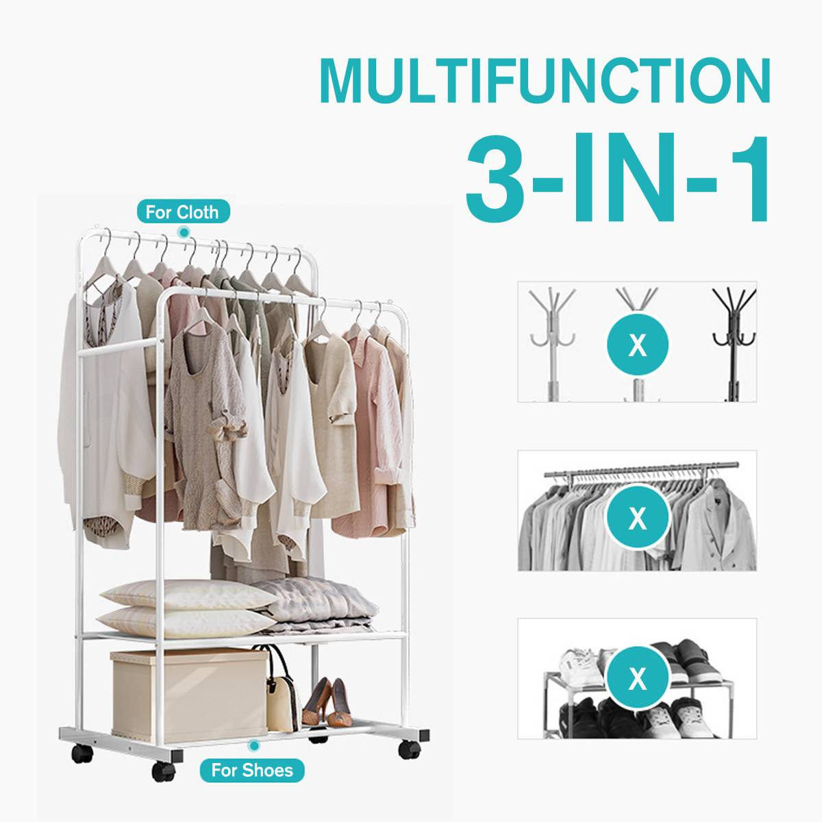 Multifunction Coat Rack Simple Metal Iron Floor Standing Clothes Hanging Storage Shelf Clothes Hanger Racks Bedroom Furniture