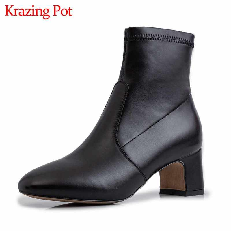 Krazing Pot inek deri streç çizmeler katı muhtasar stil yuvarlak ayak yüksek topuklar kadın kış günlük giyim moda yarım çizmeler L81