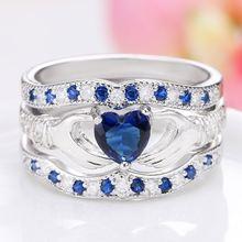 Элегантные романтические уникальные синие трехуровневые кольца