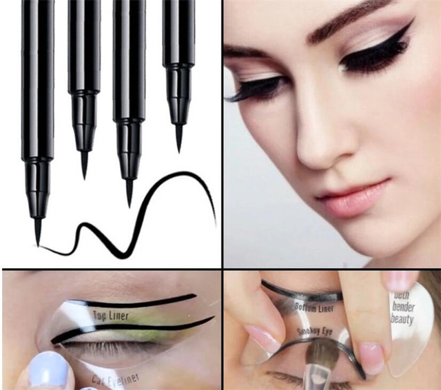 New 200sets/lot 2pcs Pro Eyeliner Stencils Winged Eyeliner Stencil Models Template Shaping Tools Eyebrows  Card Eye Shadow 3
