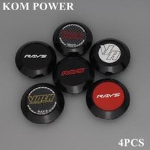 KOM 4pcs 70/63mm clip wheel center caps rays rims hubcap volk logo emblem sticker centro rodas racing with steel ring