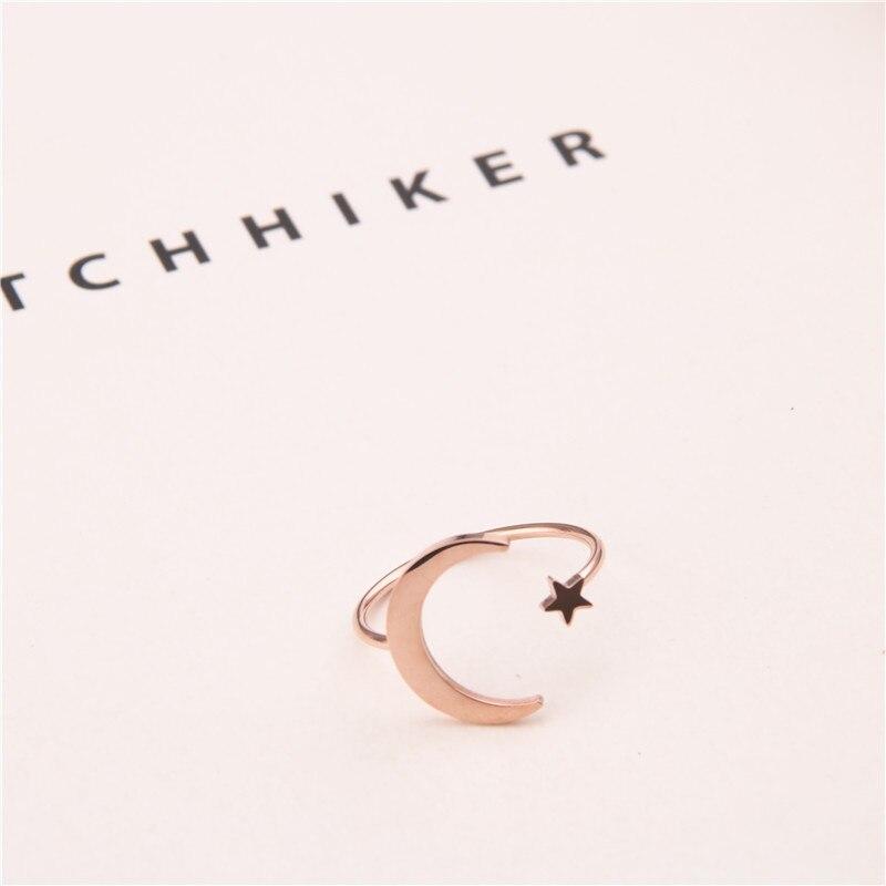 Géométrique creux titane acier anneau femme étoile lune ouverture mode coréenne polyvalent index doigt anneau accessoires