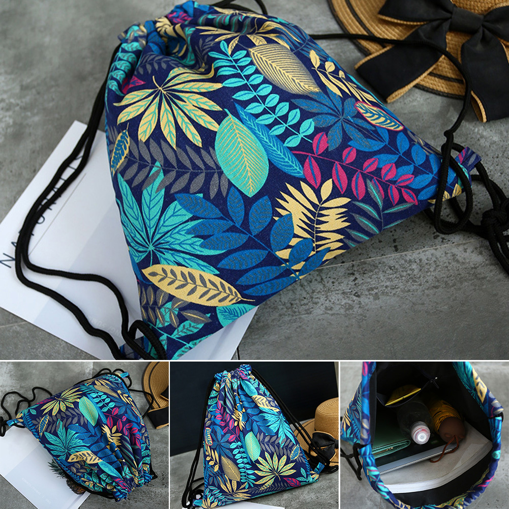 Women Organizer Drawstring Bag Canvas Pouch Outdoor Floral Print Shoes Travel Portable Sport Shopping Storage Backpack Shoulder