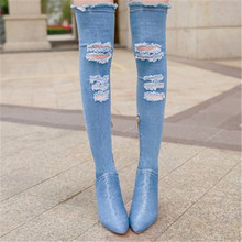 New 36-42 Women elastic denim jean shoes thigh high boots Over The knee boots cowboy long boots for Women High Heels botas mujer spring autumn women over the knee boots thick high heel woman thigh high long boots high quality plus size 34 40 41 42 43 botas