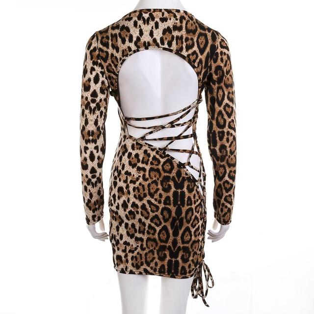 Meihuida Women Sexy Leopard Mini Dress Long Sleeve O-Neck Backless Skinny Stretch Short Dresses Night Club Sex Wear 6