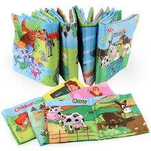 Libro de tela suave en inglés para bebé, manual interactivo de cuentos para padres e hijos, libro silencioso de dibujos animados para niños