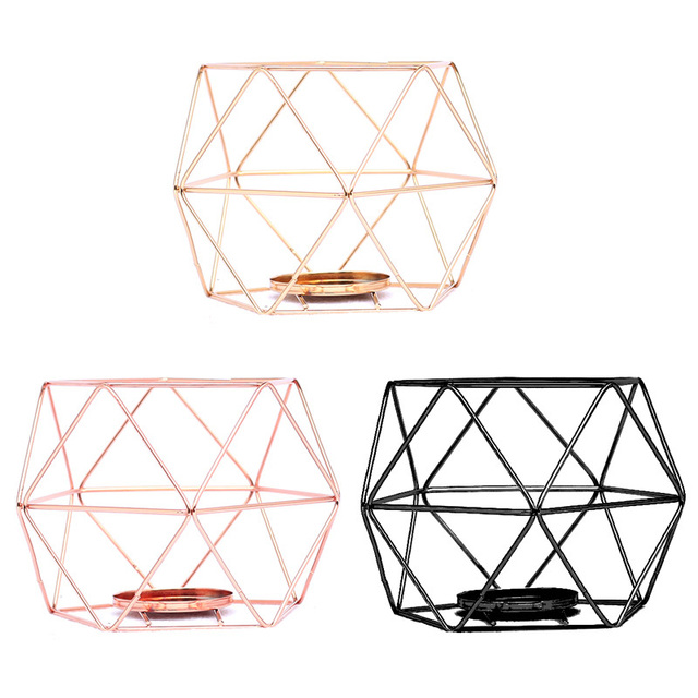 Nordic Style Geometric Iron Candlestick Candle Holders Home Wall Romantic Durable Candlesticks Wedding Home Decoration Craft 2