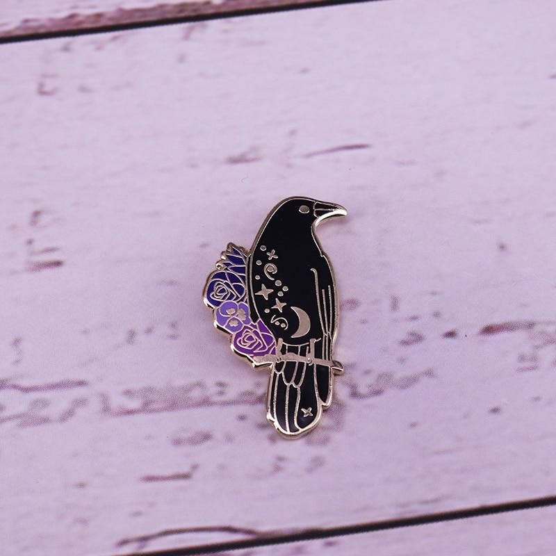 Raven Enamel Pin Crow Pin Flower moon stars brooch(China)