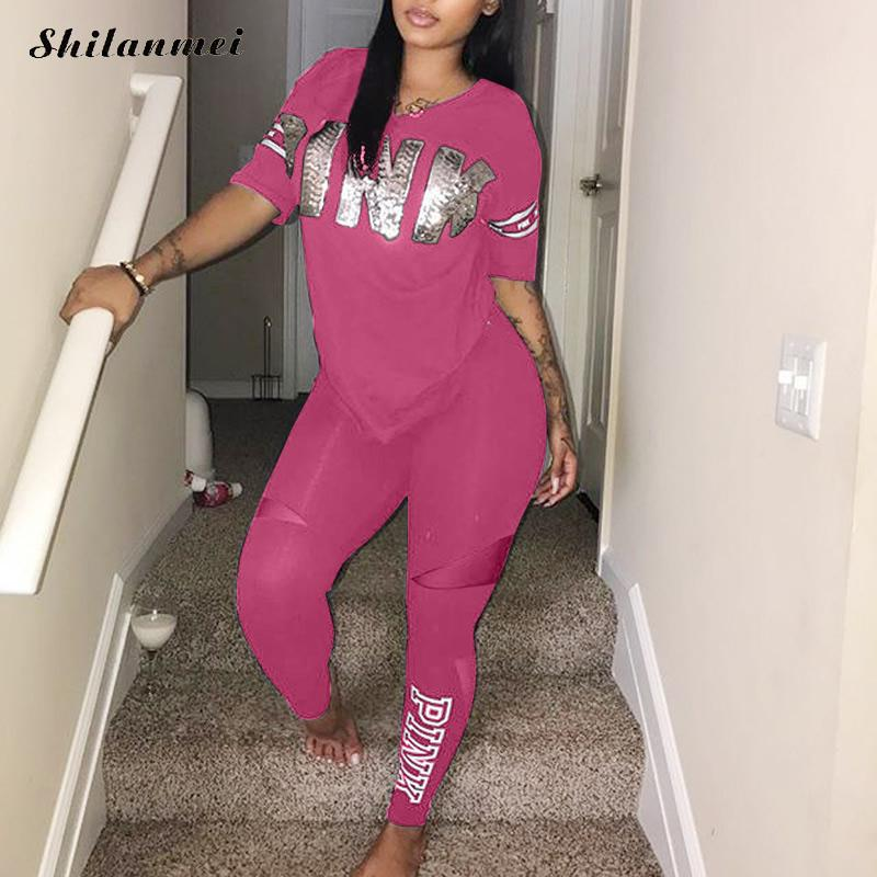 Casual 2 Piece Sets Women'S Pink Tracksuits Set Letter Print Plus Size Sweatsuit 3xl Top Ans Skinny Pants Two Piece Sportsuits