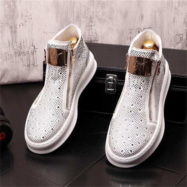 Zapatillas de deporte con cremallera para Hombre, zapatos planos informales Punk con diamantes de imitación brillantes plateados 5