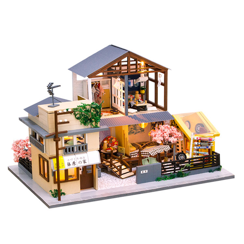 >DIY Dollhouse Model <font><b>Japanese</b></font> <font><b>Style</b></font> Wooden Miniature Doll <font><b>Houses</b></font> Assemble Kits Casa with Furnitures <font><b>House</b></font> Toys for Children