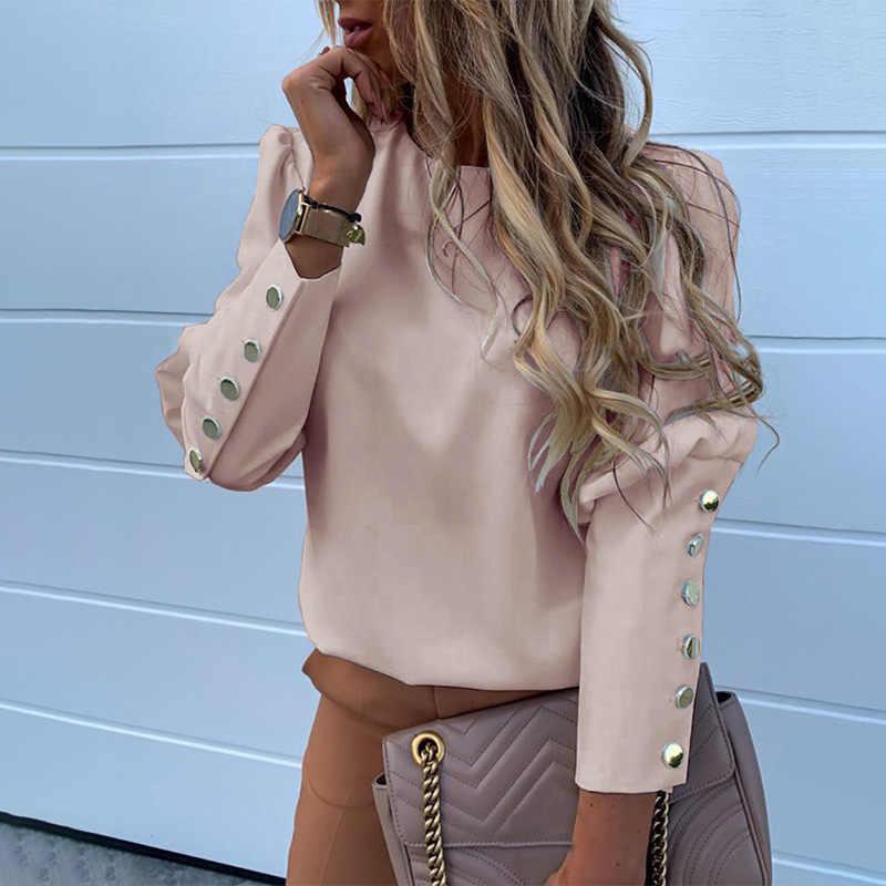 O-boyun puf uzun kollu kadın gömlek siyah düğmeler kadın bluz 2020 bahar tek göğüslü moda Casual bayanlar gömlek