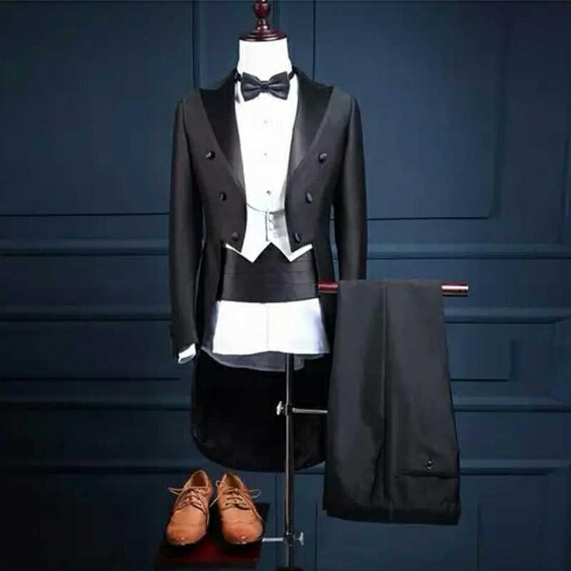 Erkek takım elbise düğün damat giyim en iyi erkek giyim klasik takım elbise akşam yemeği takım uzun ceket üç adet takım elbise (ceket + pantolon + yelek)