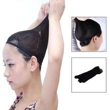 10pcs/lot Black Fashion Wig Cap Unisex Stretchable Elastic Hair Net Snood Mesh Wig Cap for Cosplay Two Opens недорого