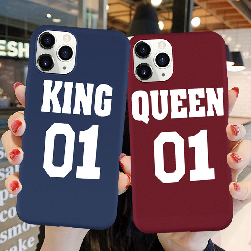 Cute Lovers Phone Case for IPhone X XS MAX 11 Pro SE Romantic King Queen Couples Soft Silicone Phone Case for IPhone 8 7 Plus