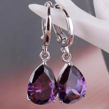 2019 New Elegant Women's Purple Rhinestone Water Drops Dangle Earrings Jewelry Best Chirstmas Birthday Gift For Dear Wife(China)