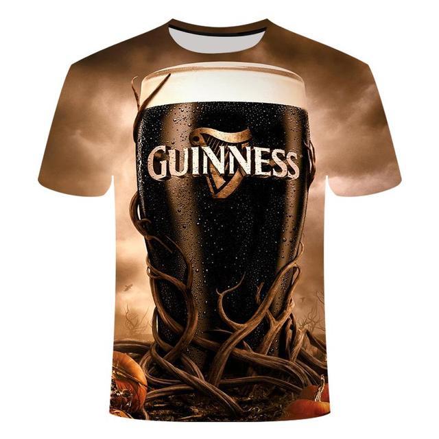 Funny men's short sleeve beer Clock 3D T-shirt, round neck large digital printed 5