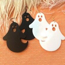 Fashion Ghost White Black Drop Earrings Simple New Design Trendy Funny Cool Dangle Earrings Halloween Punk Cool Drop Earrings