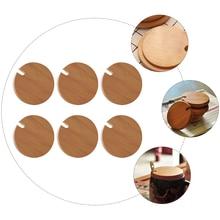 6pcs Natural Bamboo Mug Lid Wood Cup Lid Drink Cup Lid Coffee Ceramic Mug Cover