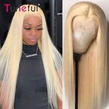 Perruque Lace Closure wig Remy brésilienne naturelle lisse, blond 613, 4x4, 28 30 pouces, 150%