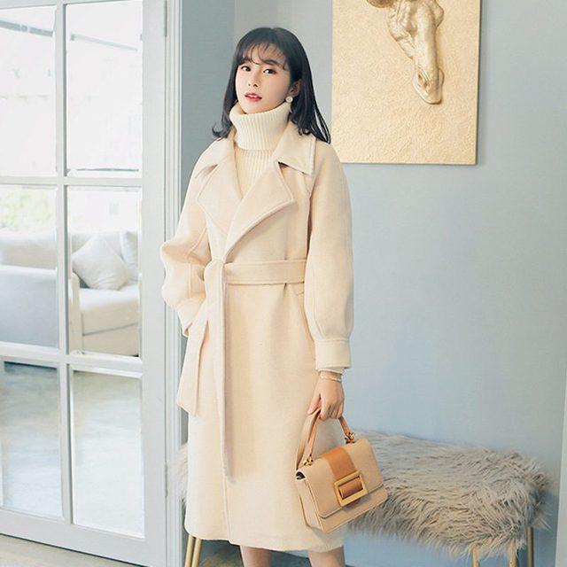 2019 Autumn Winter Woolen coats Women Lantern Sleeve Wool&blends Long Woolen Coat Casual Loose Wool Jacket Female Outwear 4