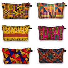 African Woman Print Cosmetic Bag Afro Ladies Makeup Bags Fashion Girls Cosmetic Case
