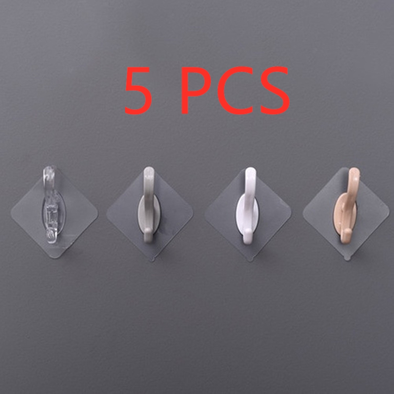 1/3/5Pcs Punch-Free Household Simple And Seamless Stickers Strong Adhesive Wall-Mounted Hook Hanger Kitchen Bathroom Accessories