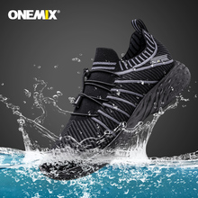 ONEMIX 2020 New Black Running Shoes for Men Waterproof Breathable Training Sneakers Male Outdoor Anti-Slip Trekking Sports Shoes