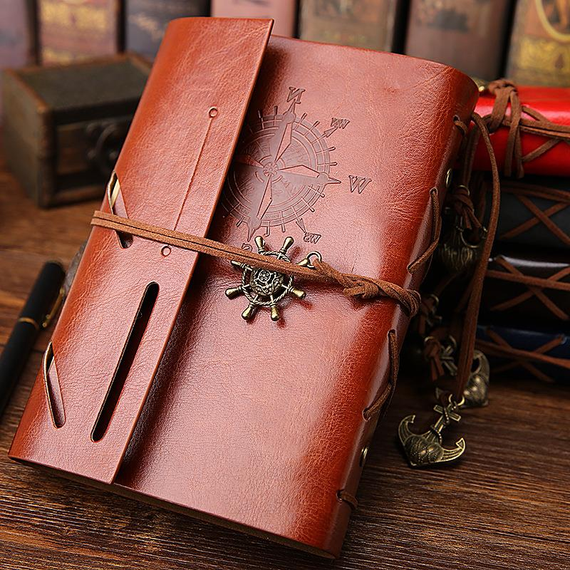 Retro Notebook A5 Diary Vintage Pirate Anchors PU Leather Note Book Planner Organizer Traveler  Journal Stationery
