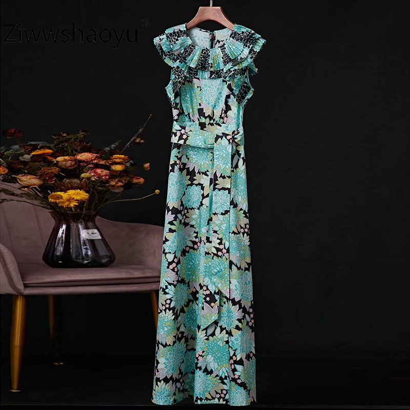 Ziwwshaoyu 100% Cotton Flower Print Pleated Lotus Leaf Sleeveless Summer Party Maxi Dresses Women's High Quality Clothing