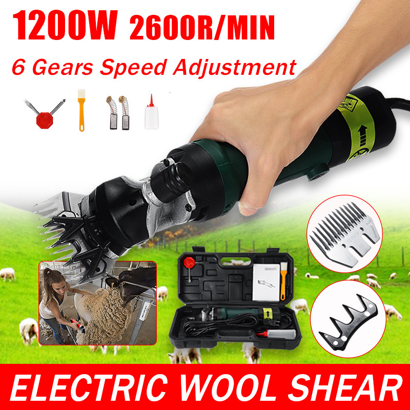 1200W Wool Scissor 220V/110V Electric Sheep Goat Shearing 6 Gears Speed Machine Clipper Farm Shears Cutter Cut Machine With Box