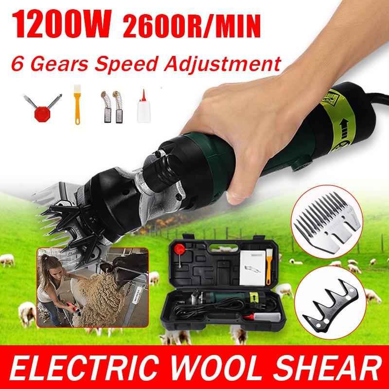 1200W Wool Scissor 220V/110V Electric Sheep Goat Shearing 6 Gears Speed Machine Clipper Farm Shears Cutter Cut Machine With Box
