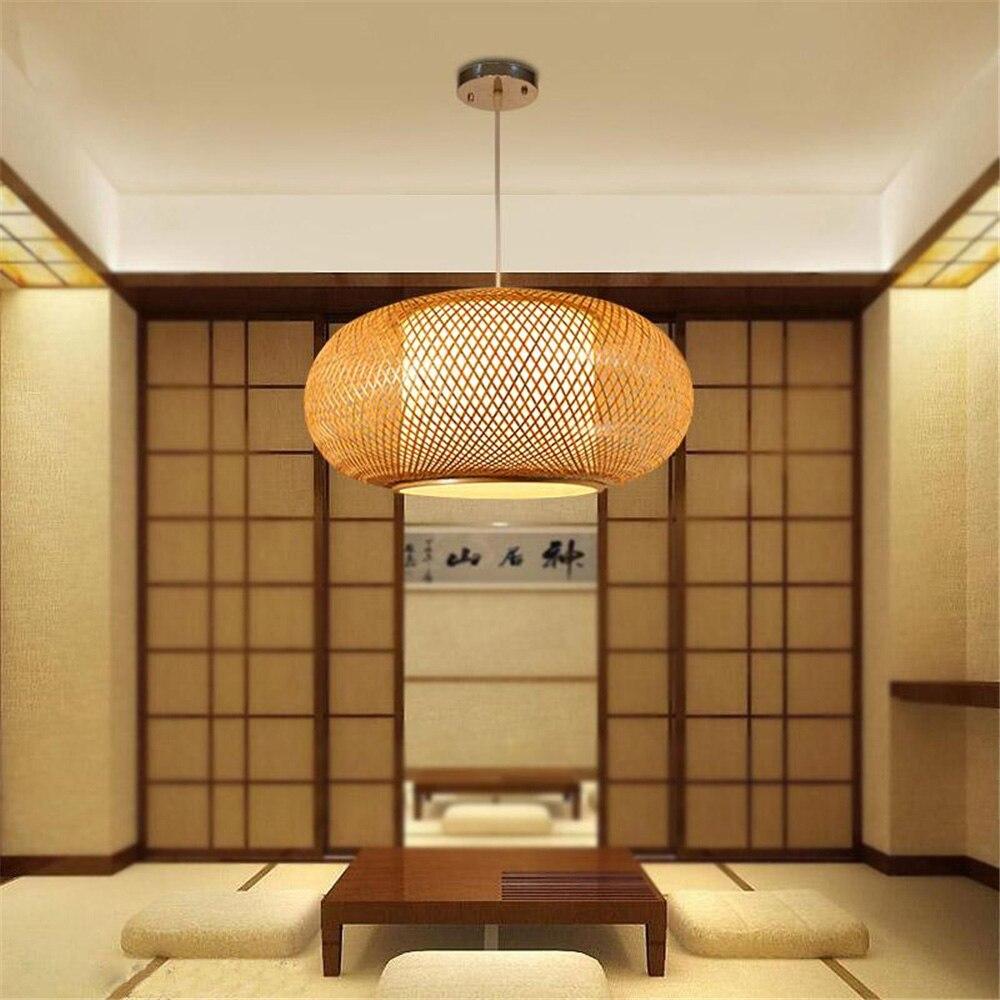 Lampe suspendue à la main en bambou tricoté à la main luminaires de cuisine Suspension maison salle à manger intérieure moderne LED en bois Suspension - 3