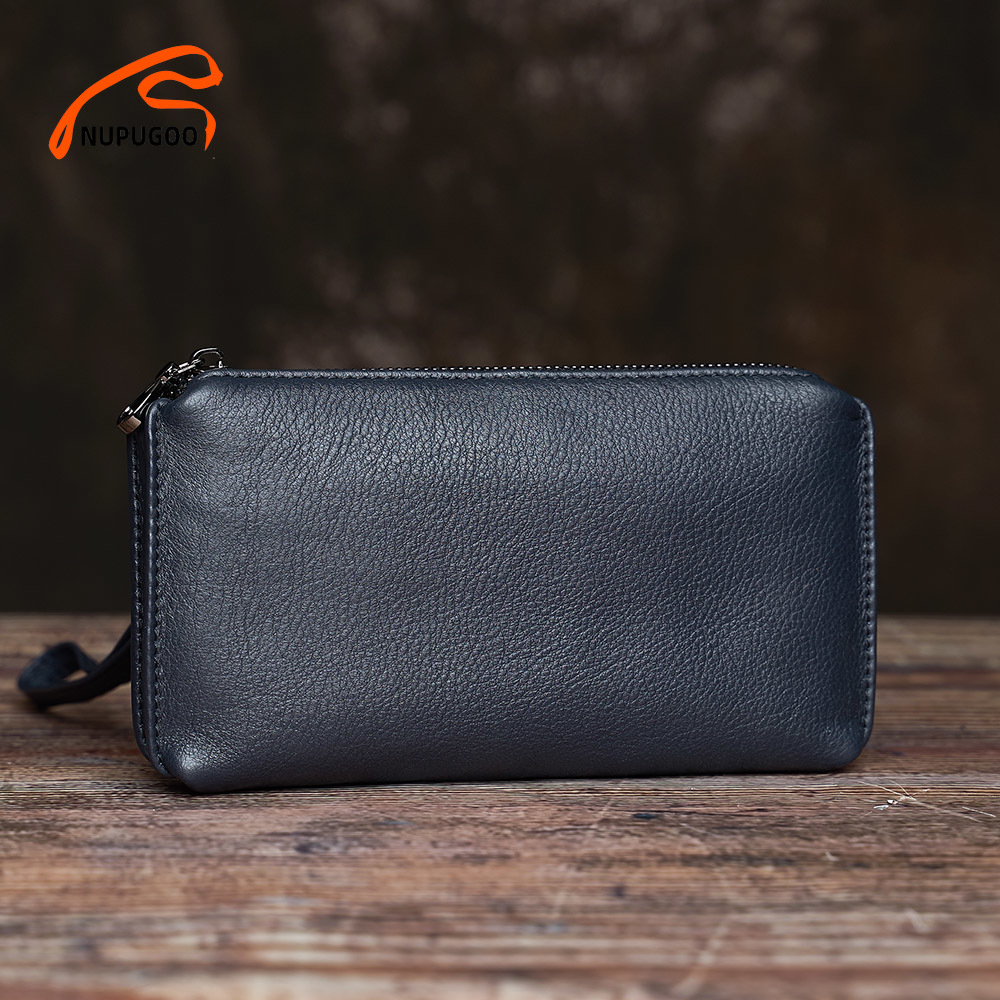 Casual Men Clutch Bag Genuine Leather Wallet Phone Mini Coin Purses Credit Card Holder Blue Business Small Money Bags NUPUGOO