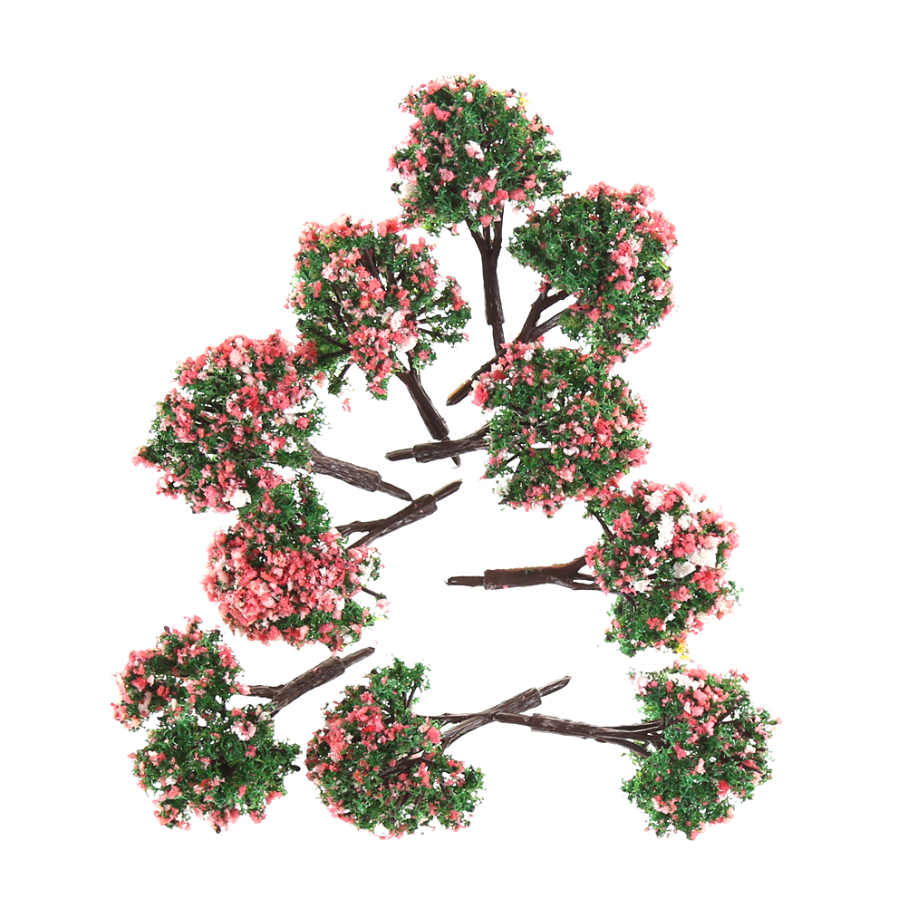 10pcs Flower Model Train HO Trees Ball Shaped Scenery Landscape 1/87 ScaleMixed Colors