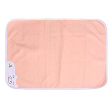 1pc Cotton Cartoon Pad Highly Absorbent Mattress Pad Breathable Waterproof Diaper for Babies Kids 50x70cm(Pink, Back Bamboo Fibr(China)