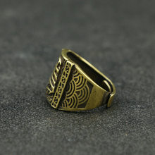 Chinese-style Retro Copper Hand-Made Ring Men's Classical Smooth Ring Set Sail Security And Women's Clothing Accessories(China)