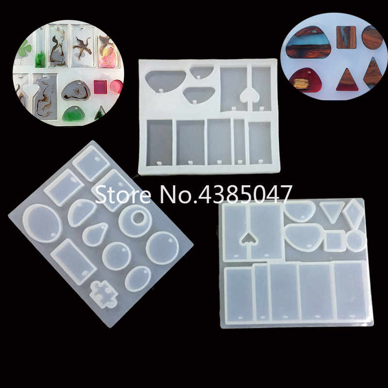 1PC 12 Designs Liquid Silicone Mold For Making Pedant Jewelry DIY Handcraft Exoxy Resin Molds Jewelry Tools