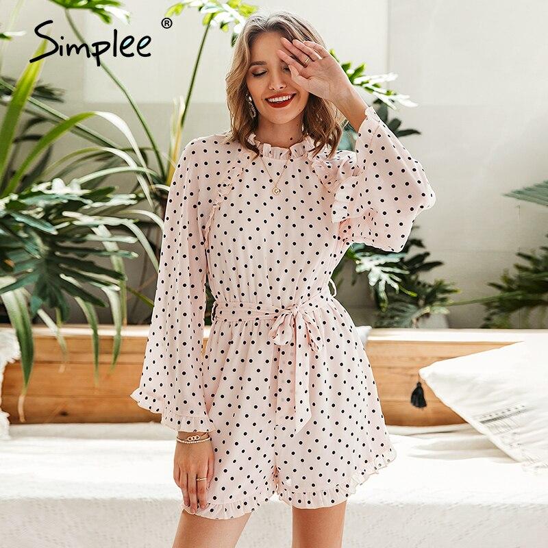 Simplee Elegant Polka Dot Women Playsuits Casual Ruffle Long Sleeve Printed Female Romper Summer Holiday Ladies Chiffon Overalls