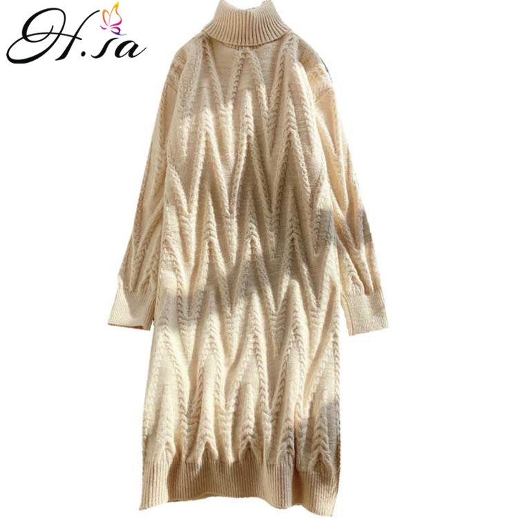 H.SA Women Winter Long Sweater And Pullovers Turtleneck Knit Sweaters Twisted Warm Soft Knee Length Knit Dress Roupa Feminino