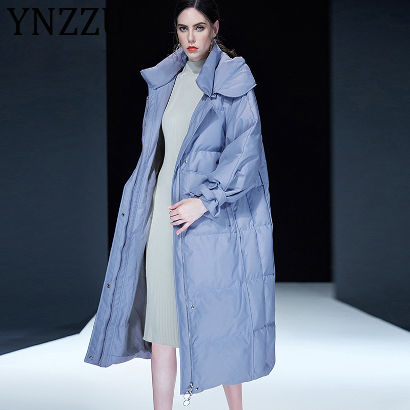 YNZZU Luxury 2019 New Winter Women's   Down   Jacket Elegant Pink Blue Extra Long White Duck   Down     Coat   Hooded Warm Overcoat A1145