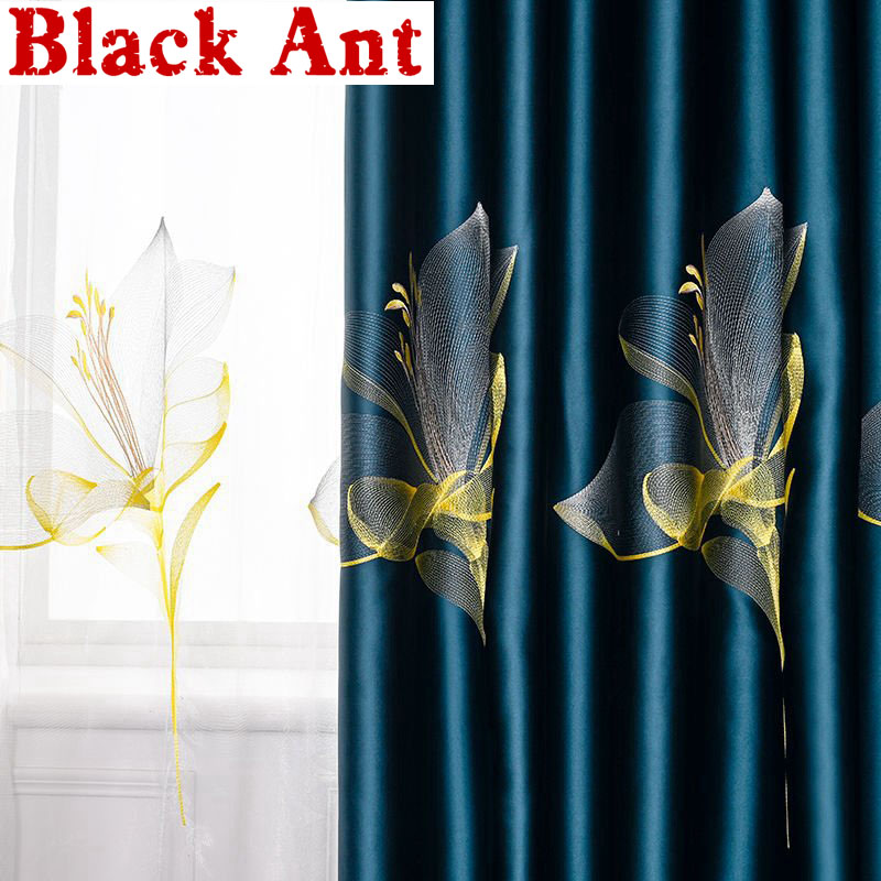 Luxurious Lily Embroidered Curtains Tulle For Living Room Bedroom Villa Royal Satin 95% Physical Blackout Window Drapes X777F