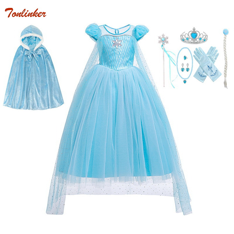 Girls Halloween Elsa Costume Cinderella With Accessories Cloak Crown Princess Girls Anna Costume Snow Queen Cosplay Dress 2019