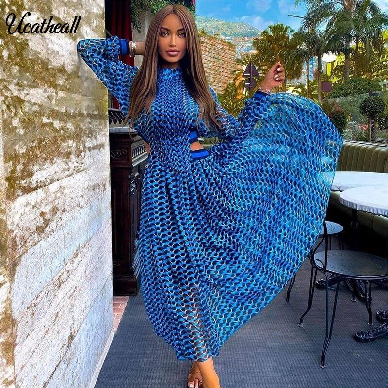Turtleneck Neck Plaid Dress Catwalk Women Summer Long Sleeve Hollow Out Waist Maxi Long Dress Female Chiffon Vestidos Femme