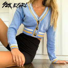 Y2K EGIRL Sweet Striped Single-breasted Cropped Tops Vintage 90s Streetwear V-neck Long Sleeve Knitted Cardigans Fashion Autum(China)