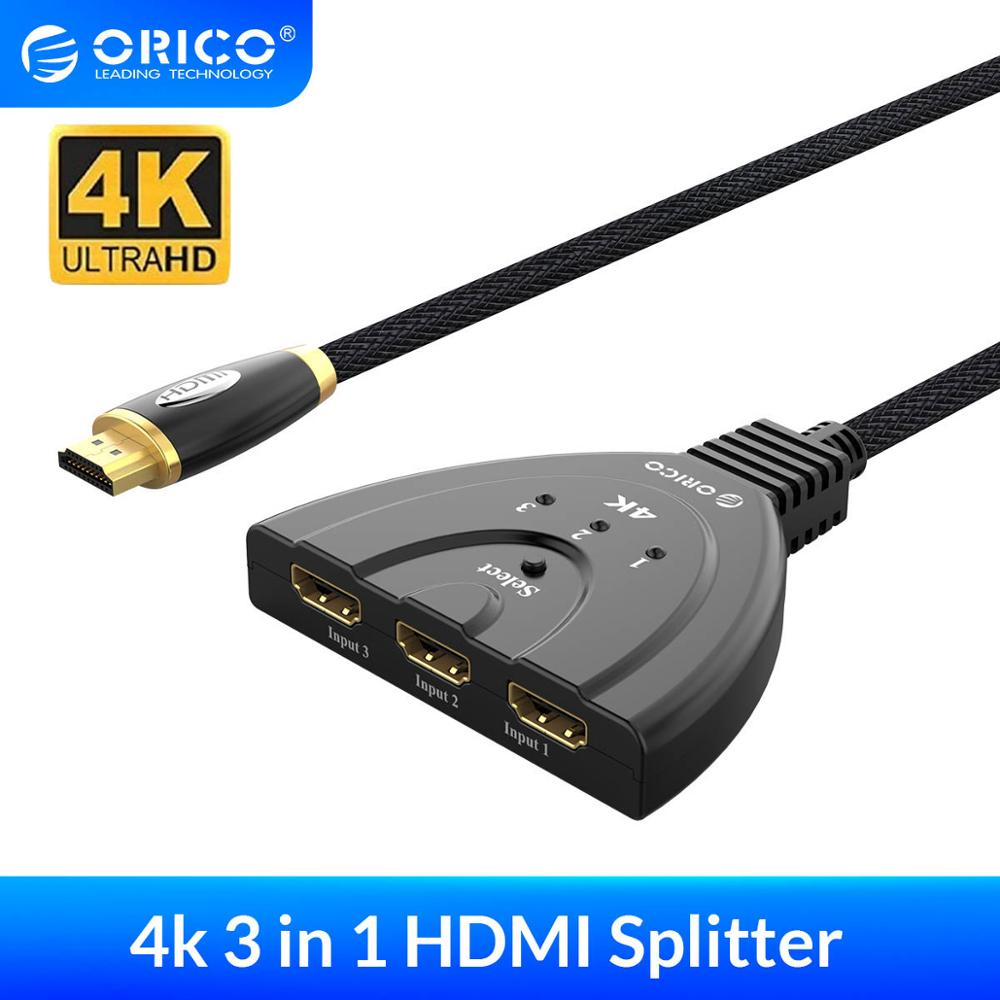 ORICO HDMI Cables 3 In 1 HDMI Switch 4k 30Hz 60Hz 3D HD HDMI Splitter Adapter Cable HDMI 2.0/1.4 Version For PC TV Box PS3 4