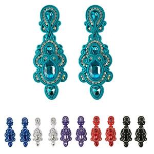 Image 1 - KPacTa Fashion Handmade Big Earrings Inlaid Ethnic Style Jewelry Ladies Crystal Decorative Accessories Pendant Earrings