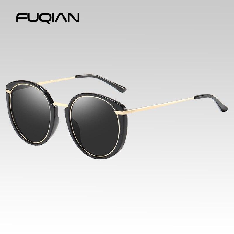 FUQIAN Brand Designer Cat Eye Polarized Ladies Sunglasses Fashion Round Women Sun Glasses Vintage Driving Eyewear UV400