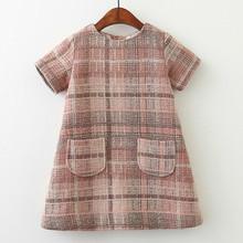 цена на Girls Dress New Brand Girls Clothes European And America Style Kids Clothes Plaid Pocket Design Baby Girls Dress 40